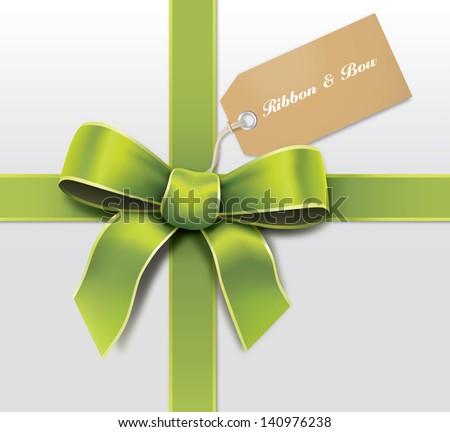Satin green ribbon with card