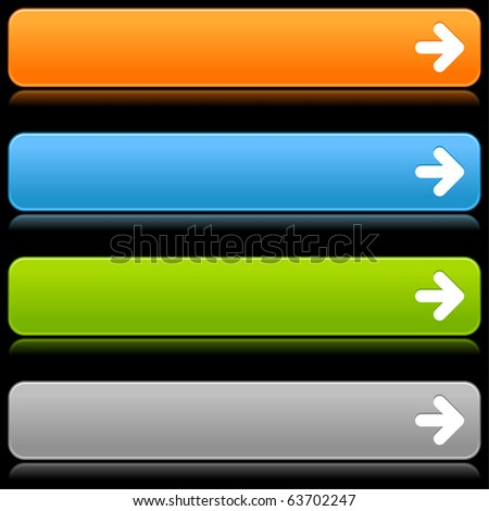 Satin smooth colored web 2.0 buttons with arrow icon and reflection on black background