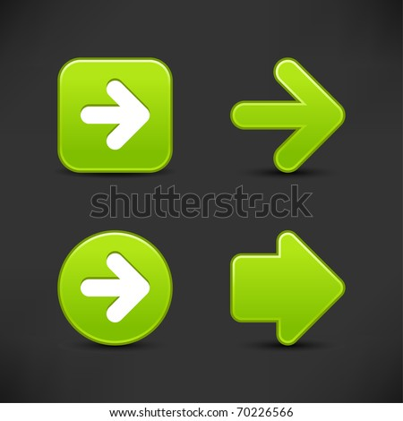 Satin smooth green arrow sign web 2.0 buttons with shadow on gray background