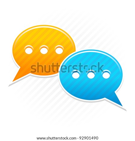 Satin smooth sticker chat room icon. Yellow and blue color web button. Strip speech bubbles shape with shadow on white background. This vector illustration saved in 10 eps
