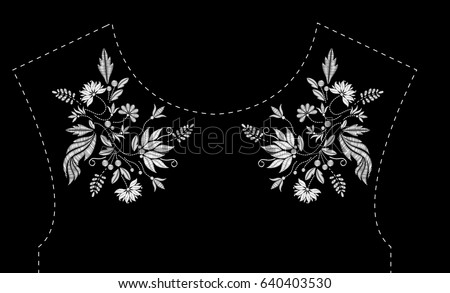 Satin stitch embroidery design with flowers. Folk line floral trendy pattern for dress neckline. Ethnic fashion white ornament for neck on black background.
