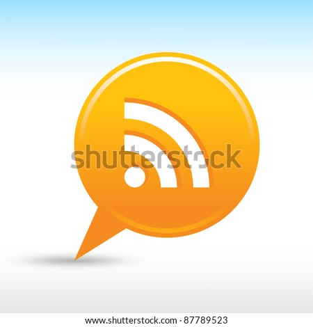 Satin web 2.0 button RSS sign icon. Orange map pin round shape with drop gray shadow on white background