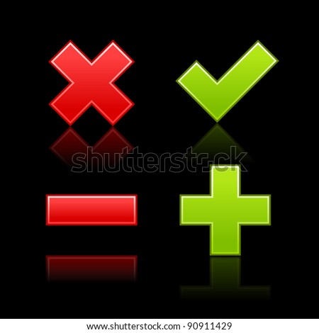 Satin web 2.0 button validation icons with color reflection on black background - stock vector