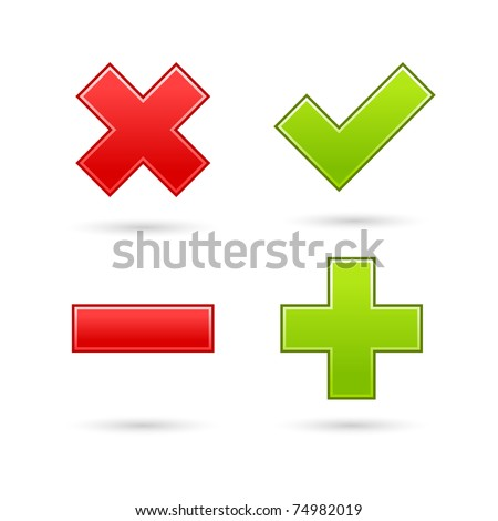 Satin web 2.0 button validation icons with drop gray shadow on white background