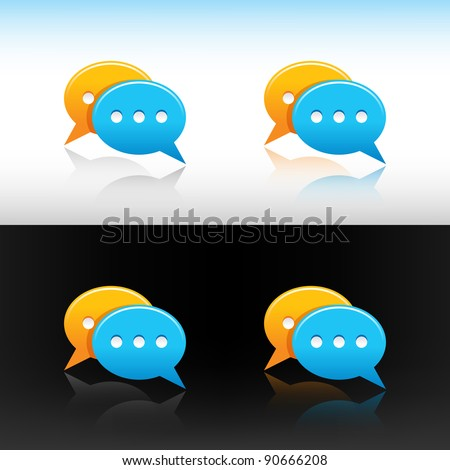 Satin web 2.0 button yellow and blue speech bubbles icon with four reflections on white and black background