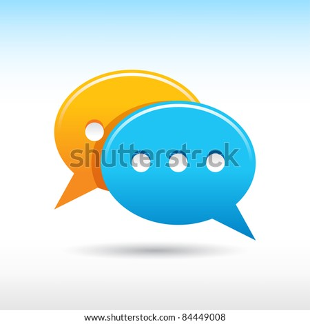 Satin web 2.0 button yellow and blue speech bubbles icon with gray shadow on white background