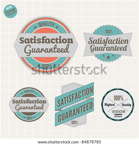 Satisfaction Guarantee and High Quality Badges  with retro vintage style