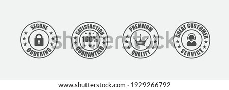 satisfaction guarantee, secure ordering, premium quality, customer service, Trust Badges  Сток-фото ©