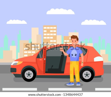 Satisfied Car Owner, Enthusiast Color Illustration. Guy in Casual Clothes Standing by his Auto Cartoon Character. Hatchback, Minivan with Open Door. Leasing, Rent Business Vector Drawing