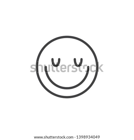 Satisfied face emoji line icon. linear style sign for mobile concept and web design. Happy face emoticon outline vector icon. Symbol, logo illustration. Vector graphics