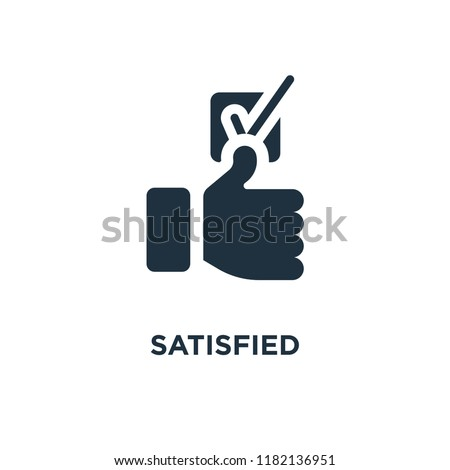 Satisfied icon. Black filled vector illustration. Satisfied symbol on white background. Can be used in web and mobile.