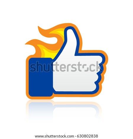 Satisfied Icon. Thumbs Up, Finger Fire Illustration with Shadow on White Background. Symbol of Like, Love, Success, Awesome, Excellent, Approve, Good Gesture. Rate for Social Media, Web and Apps.