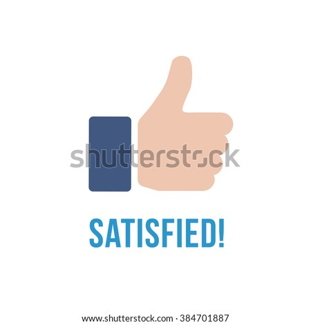 Satisfied text and thumb up flat vector icon isolated on white background. Customer feedback for support