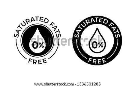 Saturated fats free vector icon. Food package seal, contain no saturated fats, 0 percent label