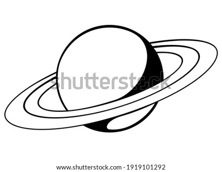 Saturn and its rings - one of the planets of the solar system - vector black and white picture for a pictogram or logo. Saturn is a gas giant, - Planet with rings - an icon or sign for identity.