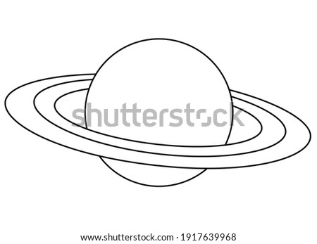 Saturn and its rings - one of the planets of the solar system - vector linear picture for coloring. Outline. Saturn, the gas giant, is a coloring book item. Planet with rings.