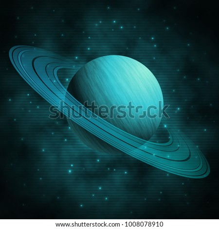 Saturn in space. The background of Saturn in the starry sky. Futuristic image of the planet in space. Vector Illustration.