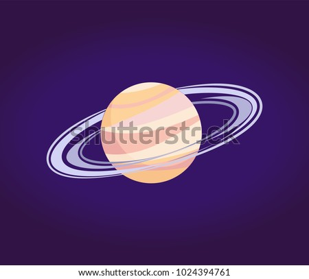 Saturn made of gases with ring of ice and dust. Sixth planet from Sun in Solar system isolated cartoon flat vector illustration on blue background.