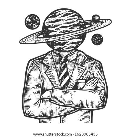 saturn planet head businessman