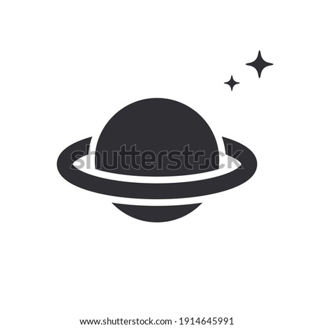 Saturn Planet. Saturn icon. Logo template. Saturn with ring. Sixth planet from Sun. Solar system. Space symbol. Galaxy sign. Planet vector. Cartoon Saturn planet. Cosmic sign. Astronomy. Science icon.