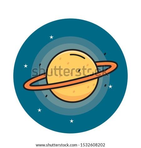 Saturn planet vector illustration. Planet cartoon. Planet icon