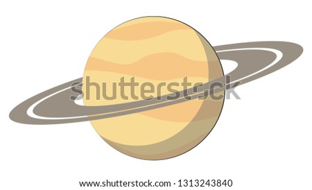 Saturn planet vector.  Solar System planets flat vector. Planets simple cartoon