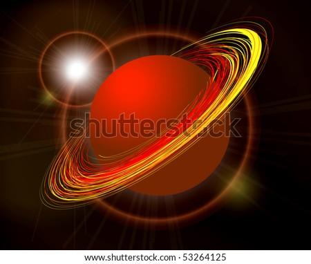 Saturn vector planet illustration on black background