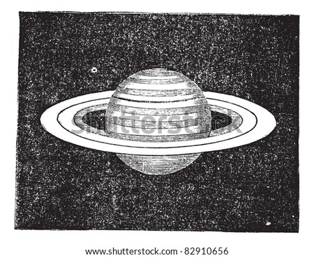 saturn with its rings  vintage...