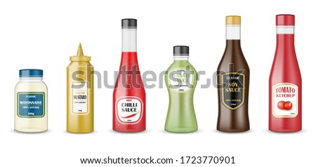 Sauce bottles set. realistic glass bottle containers with ketchup, mayonnaise, mustard, hot chilli and soy sauces. Condiment plastic packaging for fast food sauces. vector illustration Stockfoto ©