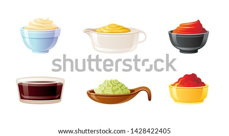Sauce bowl set. Soy Wasabi Mustard Ketchup Hot Chili Mayonnaise sauces. Condiment food icon. Porcelain, glass, ceramic bowls, pans & cups. 3d realistic vector illustration isolated on white background
