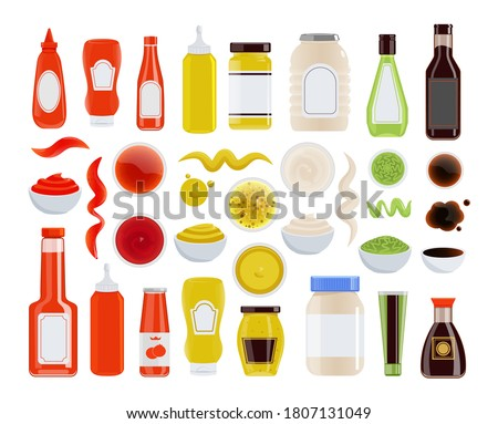 Sauce icon. Ketchup, mayonnaise, mustard, soy sauce in glass or plastic bottle, tube, bowl. Condiment wavy trace and stain isolated icon set on white background. Vector food ingredient illustration Stockfoto ©