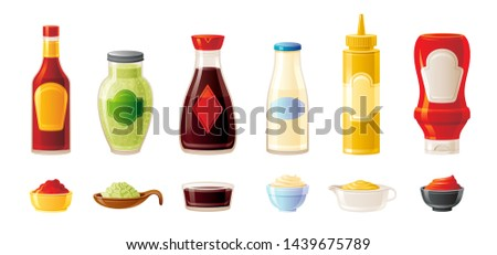 Sauce mock up set. Hot Chilli Soy Ketchup Mayonnaise Wasabi Mustard sauces. Food icon. Plastic squeeze package, glass bottle, cup bowl. 3d realistic vector illustration isolated on white background