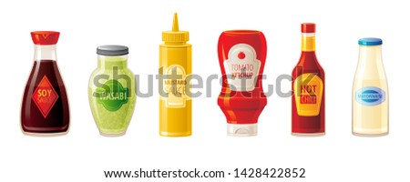 Sauce set. Soy Wasabi Mustard Ketchup Hot Chili Mayonnaise sauces. Food icons with text logo on plastic squeeze packaging, glass bottle. 3d realistic vector illustration isolated on white background Stockfoto ©