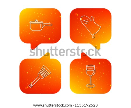 Saucepan, Potholder And Wineglass Icons. Kitchen Utensils Linear Sign.  Orange Speech Bubbles With