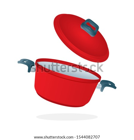 Saucepan with flying lid. Realistic saucepan with open lid vector illustration. Red cooking pot. Kitchen appliance. Casseroles isometric icon. Part of set.  Stock foto ©