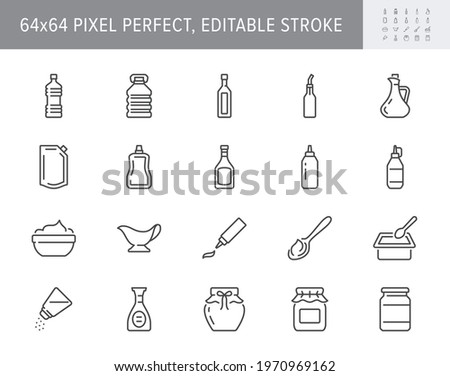 Sauces line icons. Vector illustration include icon - jug, cup, vinegar, mayonnaise, ketchup, sour cream, cheese sauce, outline pictogram for food spice. 64x64 Pixel Perfect, Editable Stroke. Foto d'archivio ©