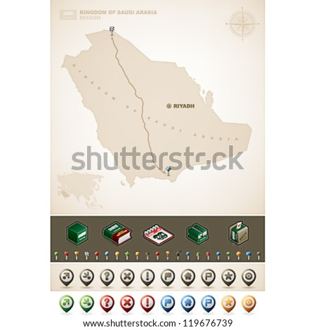 Saudi Arabia and Asia maps, plus extra set of isometric icons & cartography symbols set