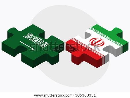 saudi arabia and iran flags in