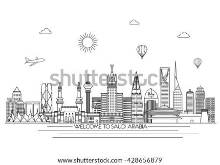 Saudi Arabia detailed Skyline. Travel and tourism background. Vector background. line illustration. Line art style