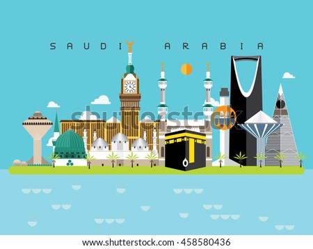 Saudi Arabia Famous Landmarks Infographic Templates for Traveling Minimal Style and Icon, Symbol Set Vector Illustration Can be use for Poster Travel book, Postcard, Billboard.