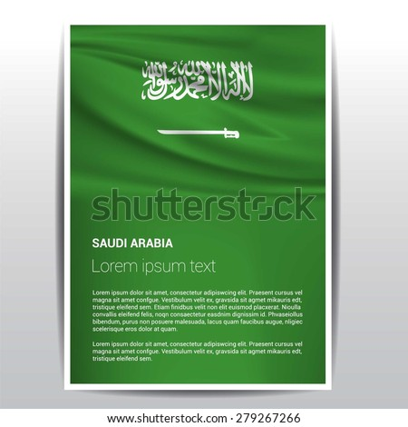 Saudi arabia flag Brochure - Vector Flyer Cover Page Design