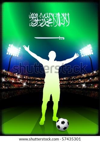 Saudi Arabia Flag with Soccer Player on Stadium Background Original Illustration
