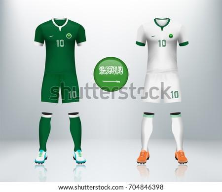 c98ecd102ba Saudi Arabia home and away soccer jersey kit set on backdrop. Concept for  KSA soccer