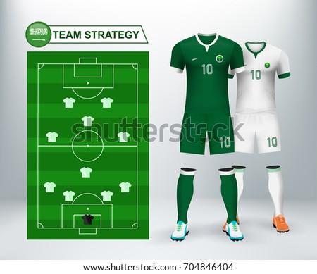 Saudi Arabia home and away soccer jersey kit set with team statistics board on backdrop. Concept for Asia match tournament result background in vector illustrative