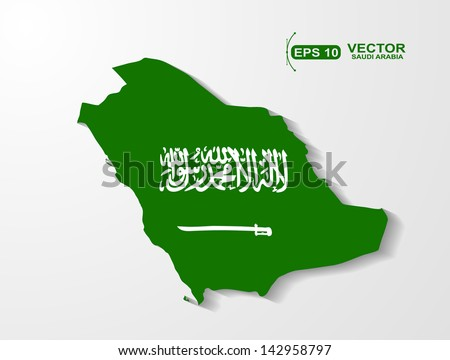 Saudi Arabia map with shadow effect
