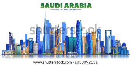 Saudi Arabia skyline on a white background. Flat vector illustration. Business travel and tourism concept with modern buildings. Image for banner or web site.