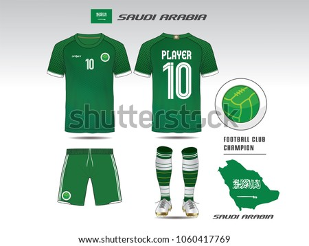 670f406bf Saudi arabia soccer jersey or team apparel template. Mock up Football  uniform for football club