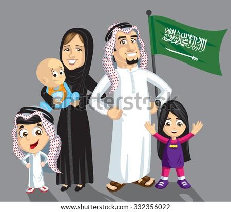 Saudi family with flag