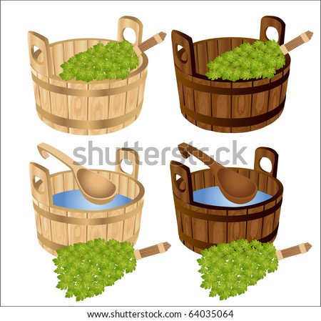 sauna baths house oak twigs tub - stock vector