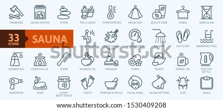 Sauna elements - thin line web icon set. Outline icons collection. Simple vector illustration.